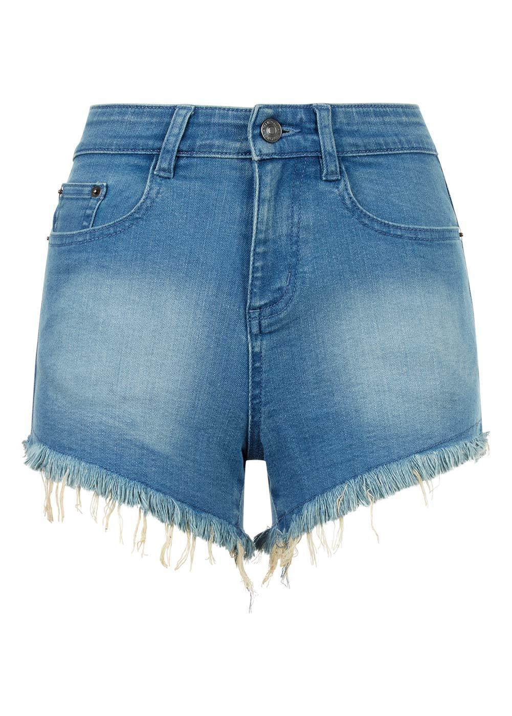 Girls Light Blue Denim Shorts With Embroidered Eyes - Front