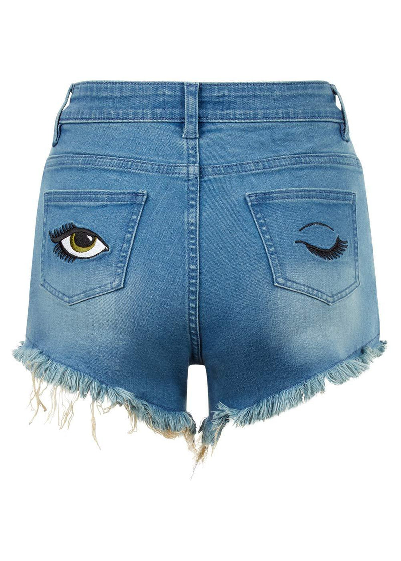 Youth Girls Light Blue Stretch Denim Shorts With Embroidered Eyes