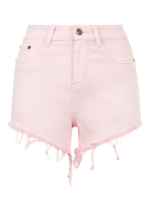 Girls Pink Denim Shorts With Embroidered Eyes - Front