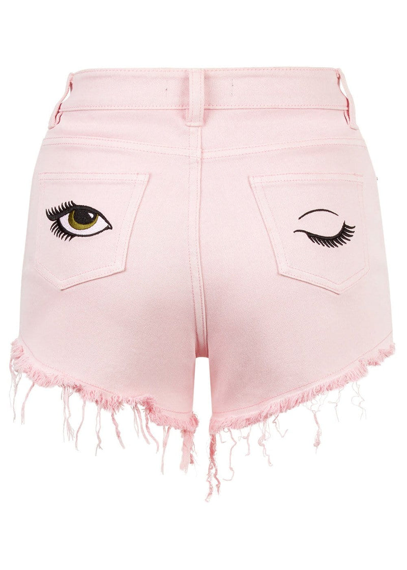 Girls Pink Denim Shorts With Embroidered Eyes - Back