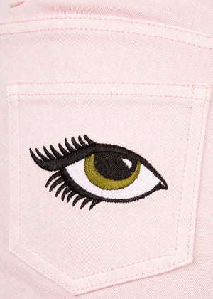 Girls Pink Denim Shorts With Embroidered Eyes - Left Detail