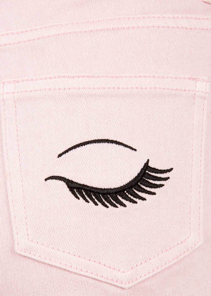 Girls Pink Denim Shorts With Embroidered Eyes - Right Detail