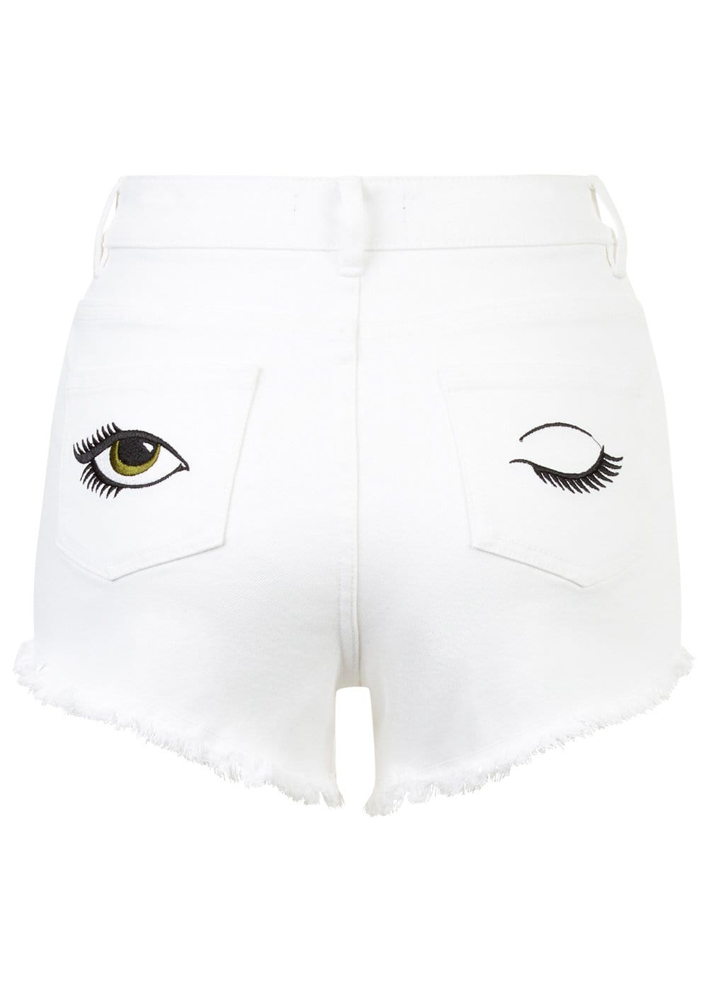 Girls White Denim Shorts With Embroidered Eyes