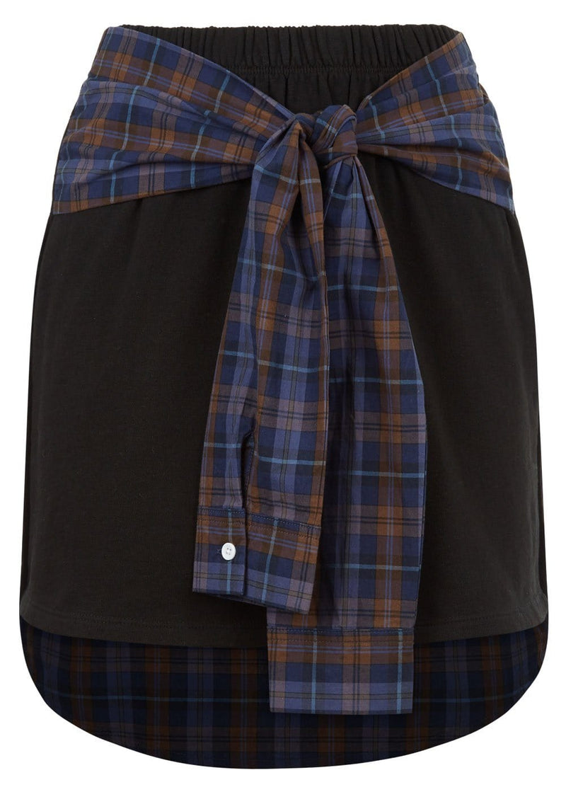 Youth Girls Black Sweat Skirt With Shirt Wrap