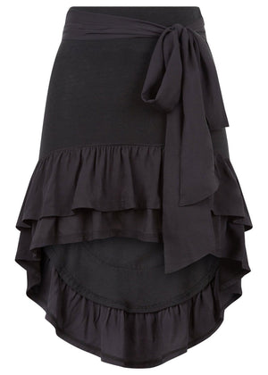 TeenzShop Youth Girls Black Ra-Ra Frilled Asymmetric Beach Skirt