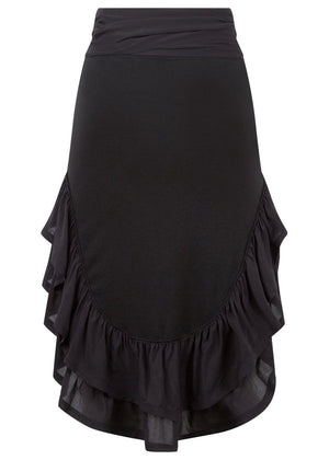 Girls Black Ra-Ra Frilled Asymmetric Beach Skirt - Back