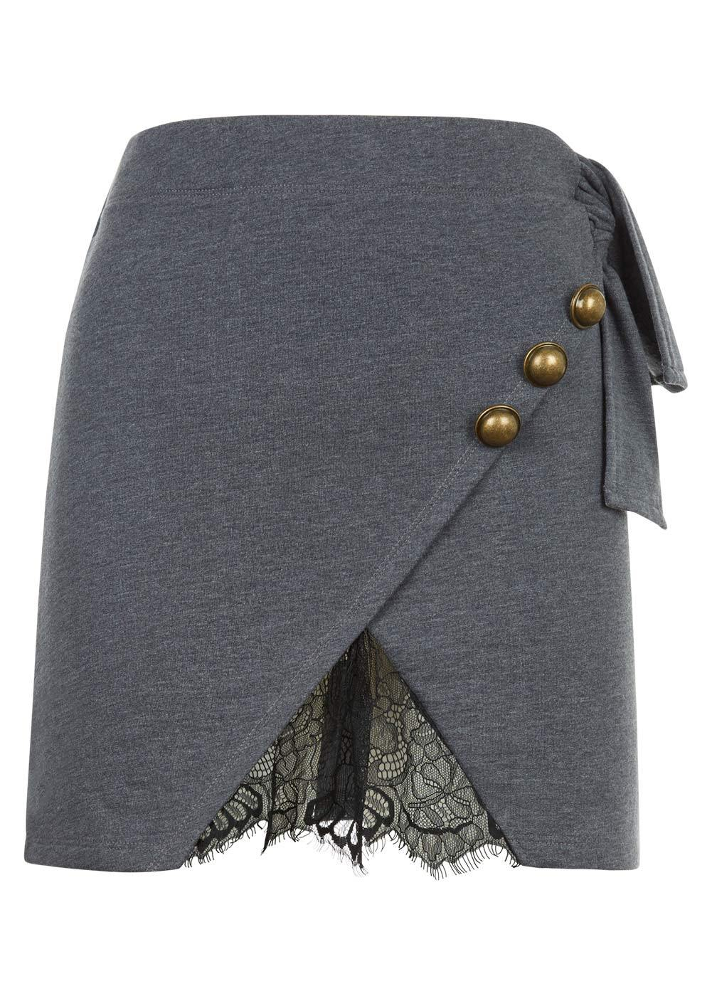 Girls Blue Grey Mini Skirt With Buttons And Lace Insert