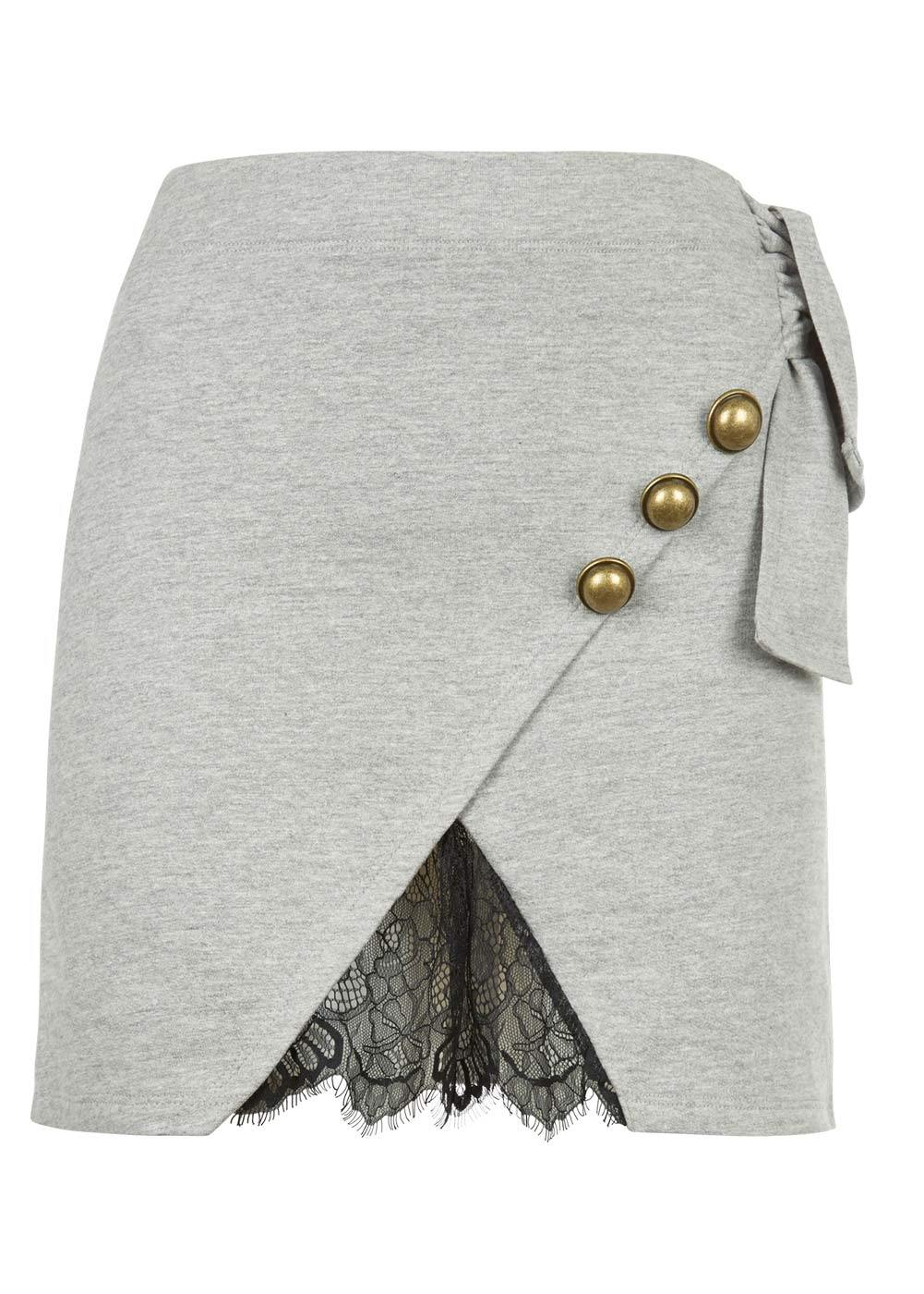 Girls Light Grey Mini Skirt With Buttons And Lace Insert - Front
