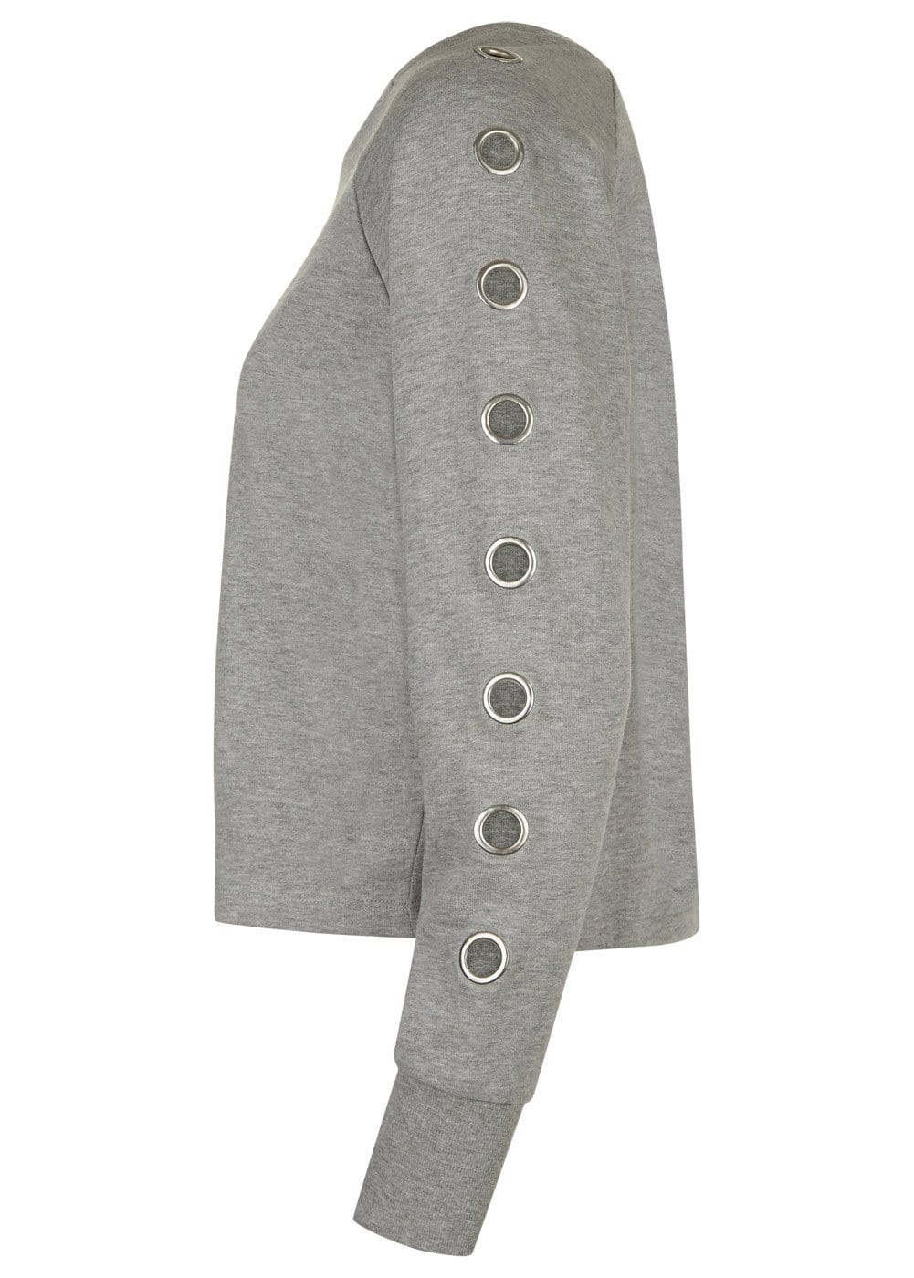 Girls Light Grey Sweatshirt With Eyelets - Side