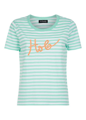 TeenzShop Youth Girls Green & White Stripe Holiday T-shirt