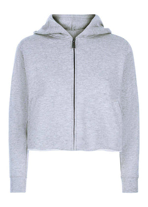Youth Girls Grey Cropped Zip-up Hoodie With Wink Eyes Back