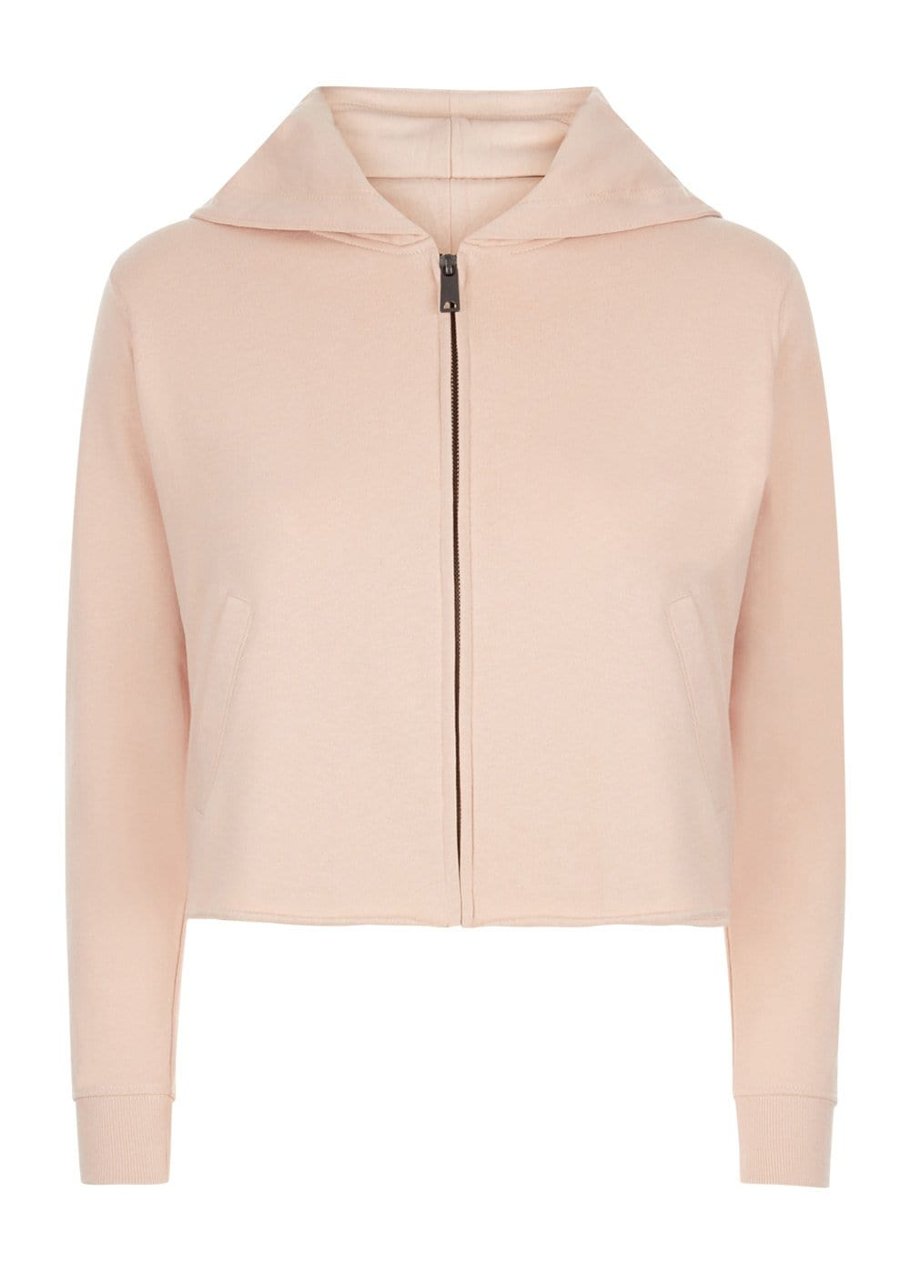 Girls Blush Pink Cropped Zip-up Hoodie With Wink Eyes Back-Front