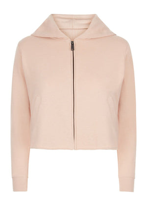 Teenzshop Youth Girls Pink Cropped Zip-up Hoodie With Wink Eyes Back