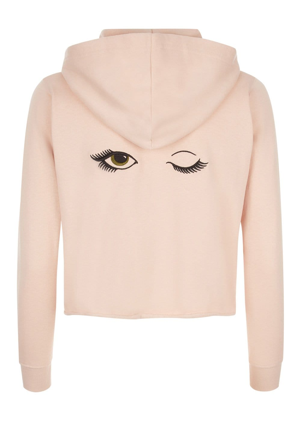 Girls Blush Pink Cropped Zip-up Hoodie With Wink Eyes Back - Back