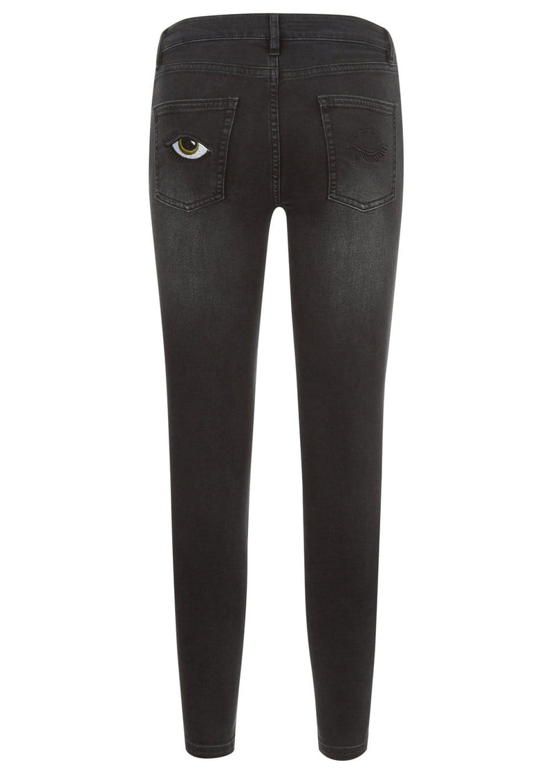 Youth Girls Black Skinny Jeans with Embroidered Eyes Pockets