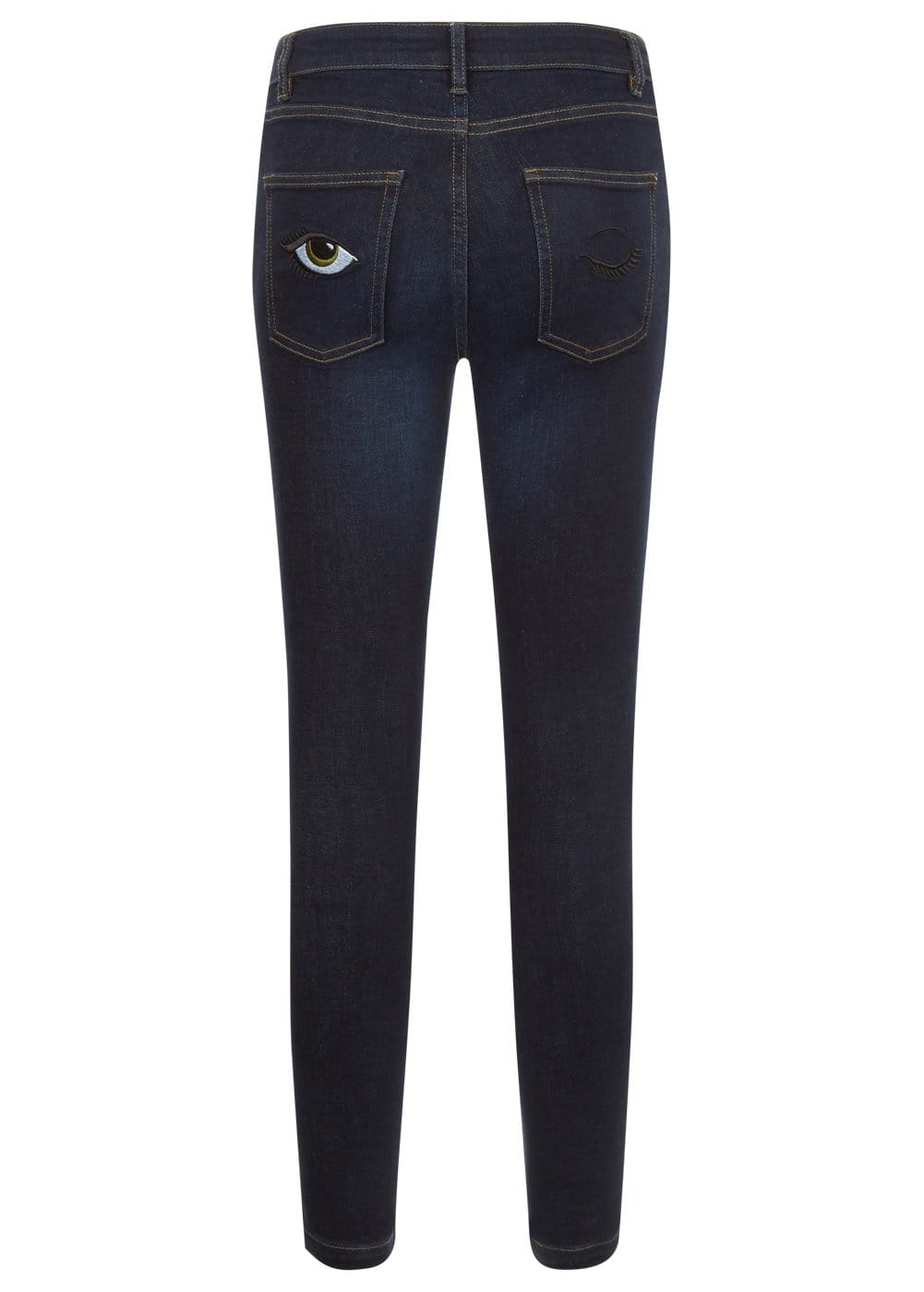 Youth Girls Dark Blue Skinny Jeans with Embroidered Eyes Pockets