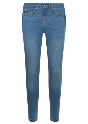 Teenzshop Youth Girls Blue Skinny Jeans with Embroidered Eyes Pockets