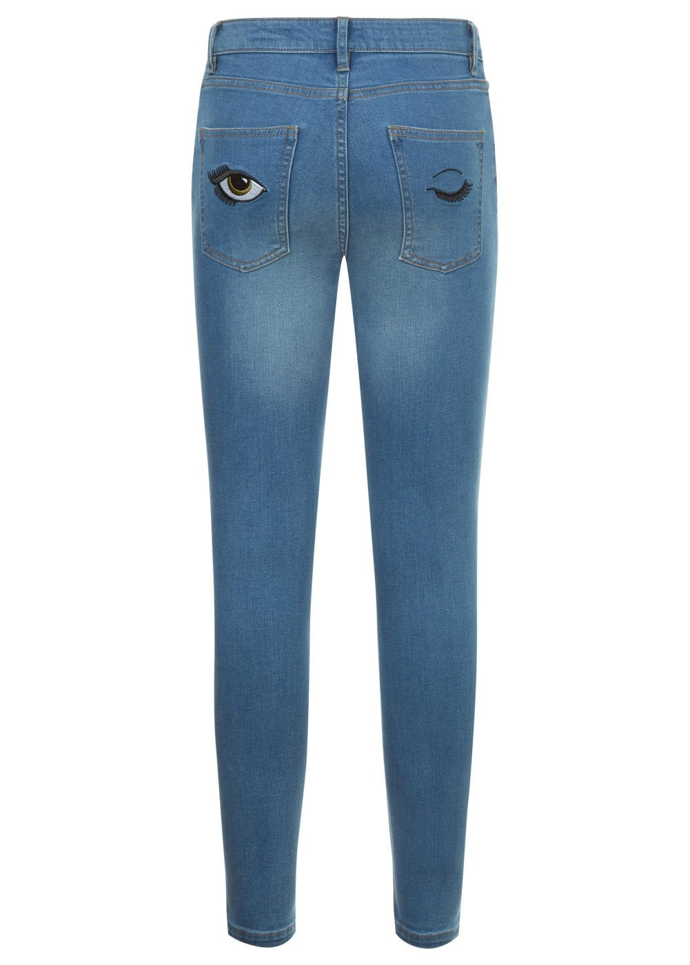 Youth Girls Blue Skinny Jeans with Embroidered Eyes Pockets