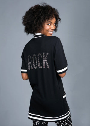 TeenzShop Youth Girls Black Long Rock Cardigan
