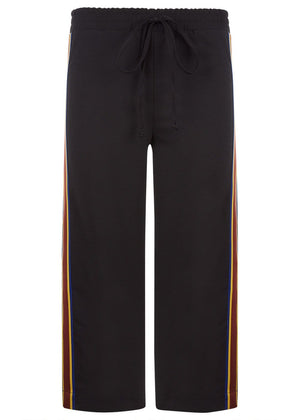 TeenzShop Youth Girls Black Cropped Trousers With Side Snaps
