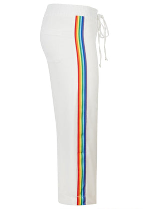 TeenzShop Youth Girls White Cropped Trousers With Side Snaps
