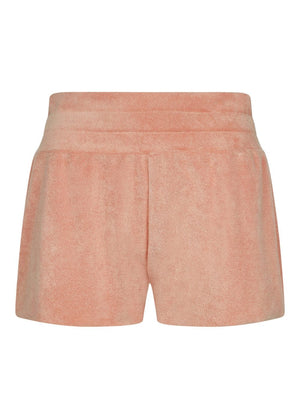 Girls Coral Orange Terry Shorts - Front