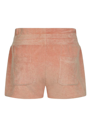 Girls Coral Orange Terry Shorts - Back
