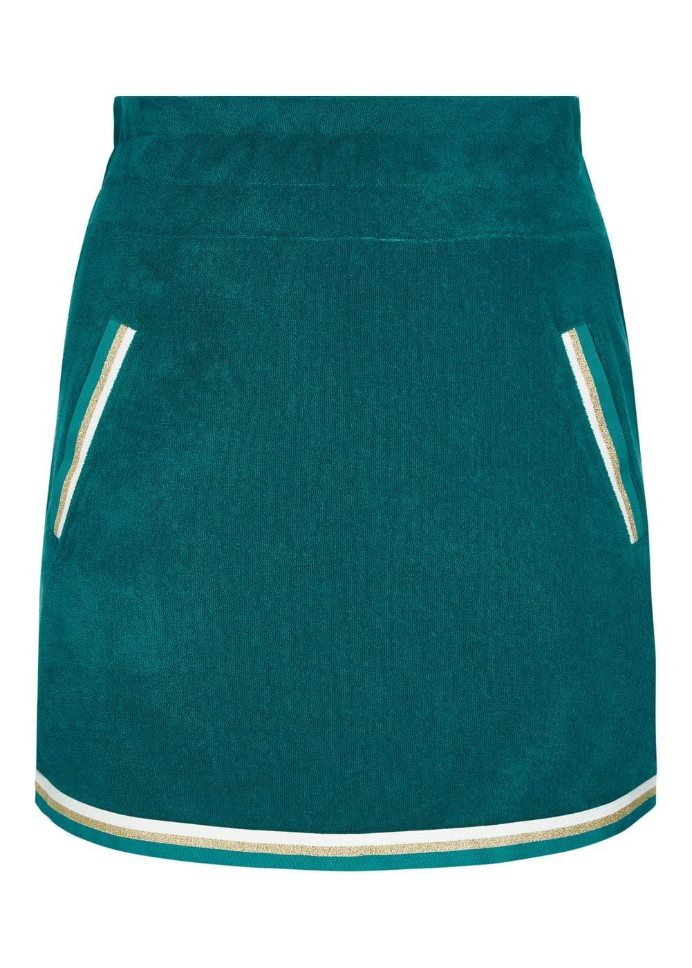 Girls Teal Retro Terry Skirt - Front