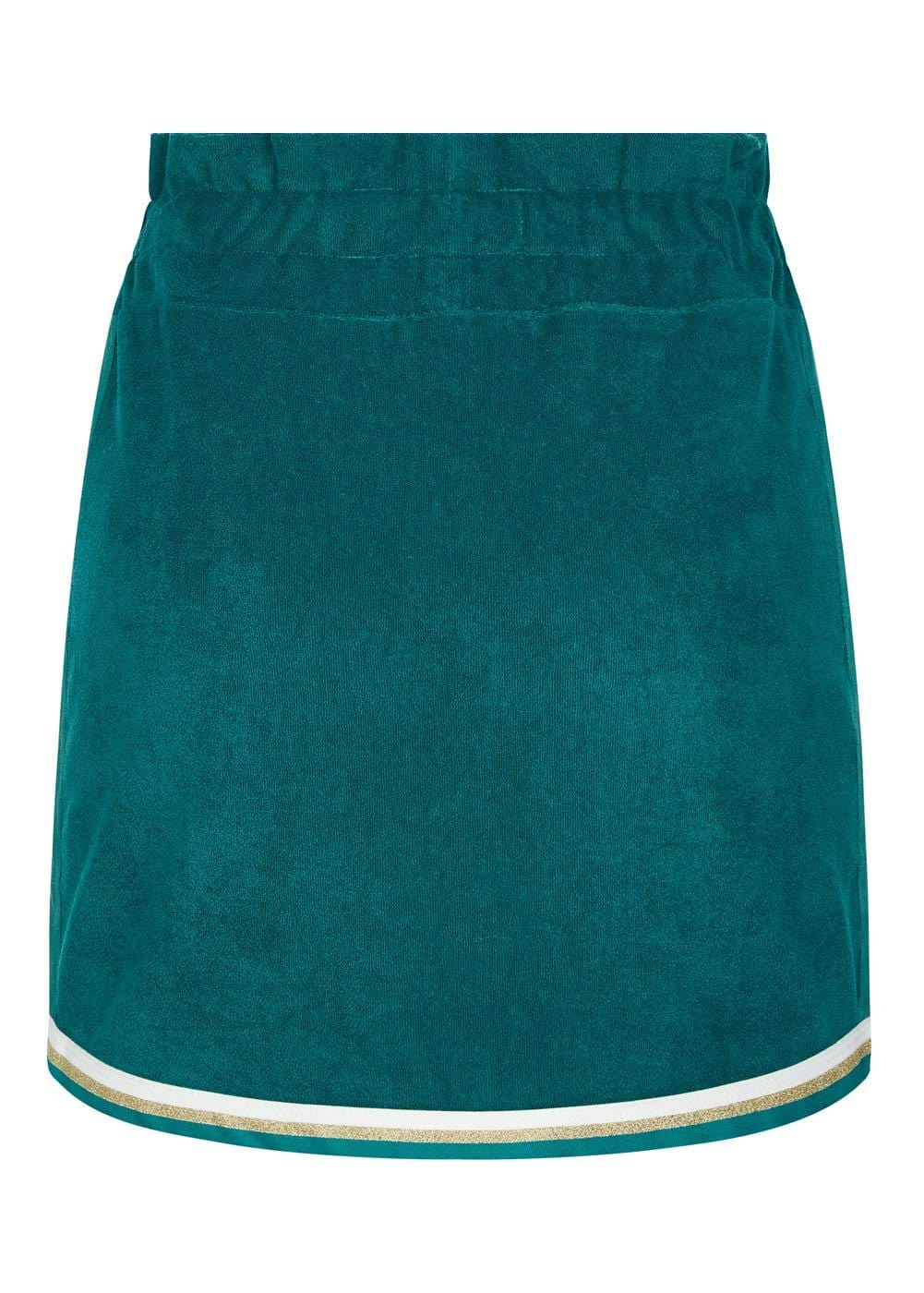 Girls Teal Retro Terry Skirt - Back
