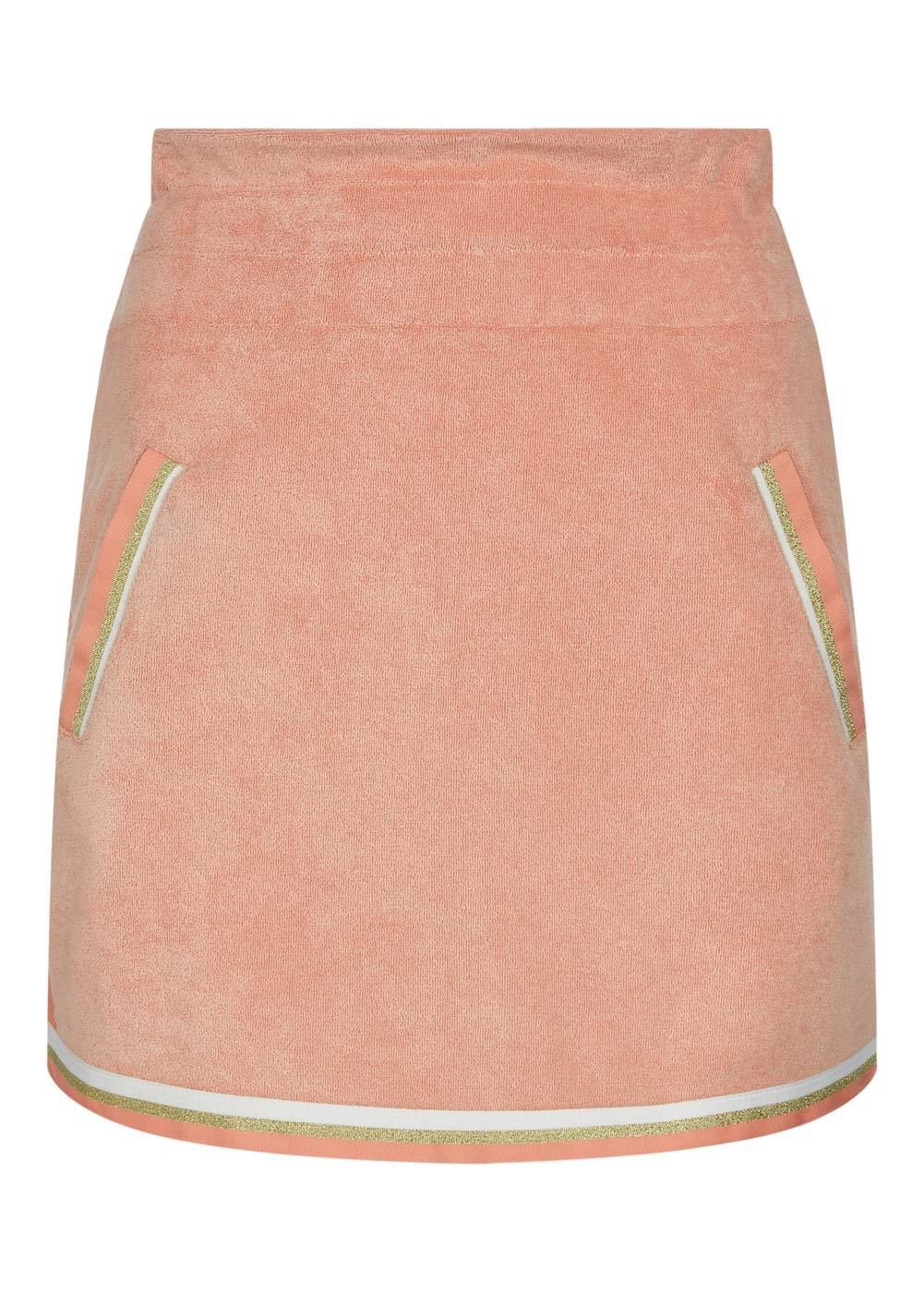 Girls Coral Orange Retro Terry Skirt - Front