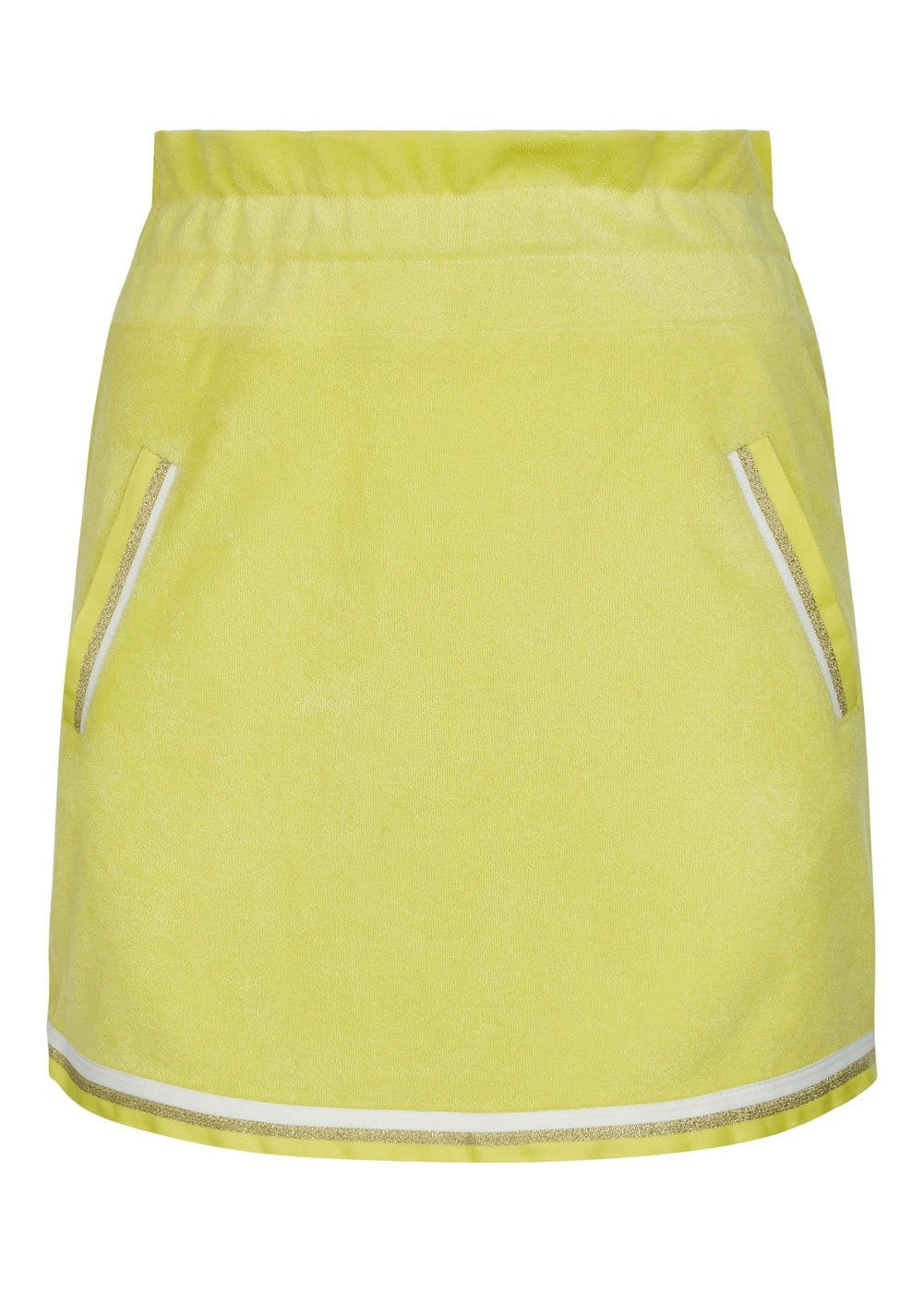 Girls Yellow Retro Terry Skirt - Front