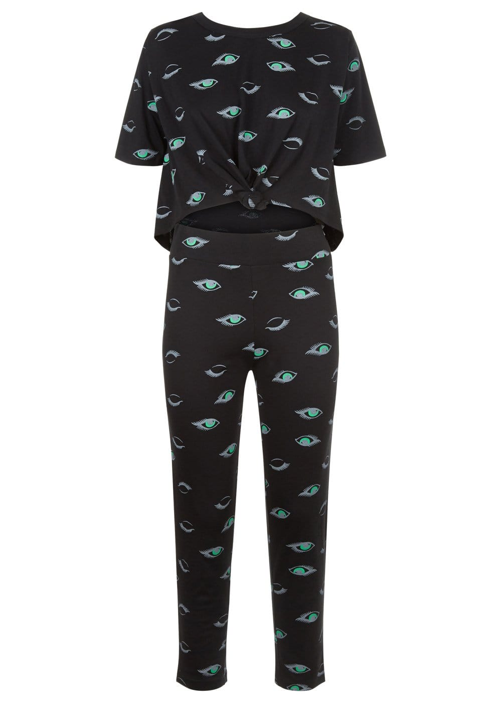 Girls Black Teenzshop Eyes Print Pyjama Set - Front