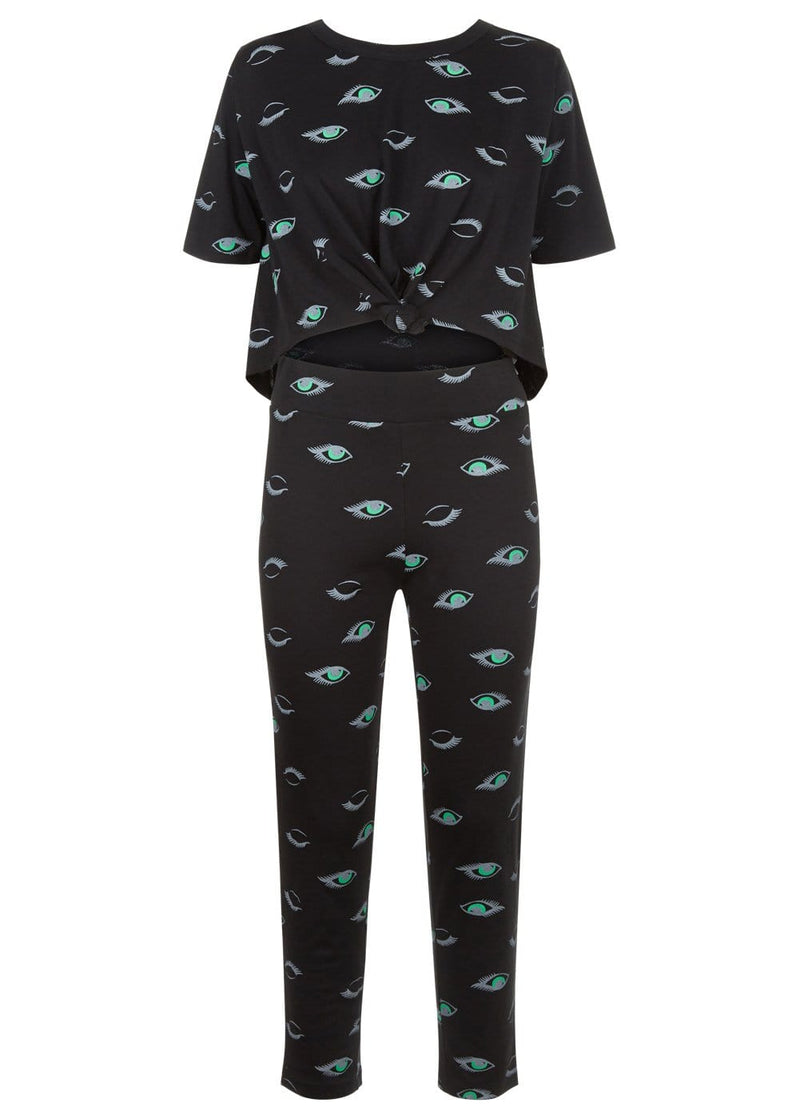 Girls Black Teenzshop Eyes Print Pyjama Set-TeenzShop