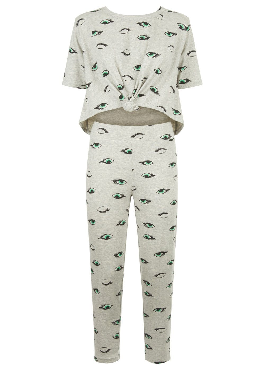 Girls Grey Teenzshop Eyes Print Pyjama Set - Front