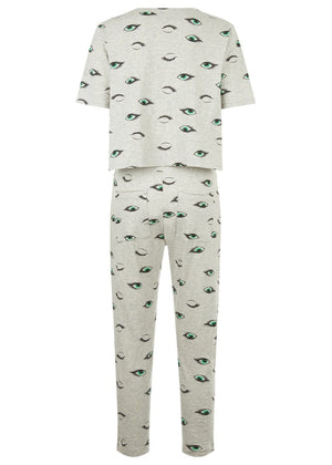 Teenzshop Youth Girls Grey Teenzshop Eyes Print Pyjama Set