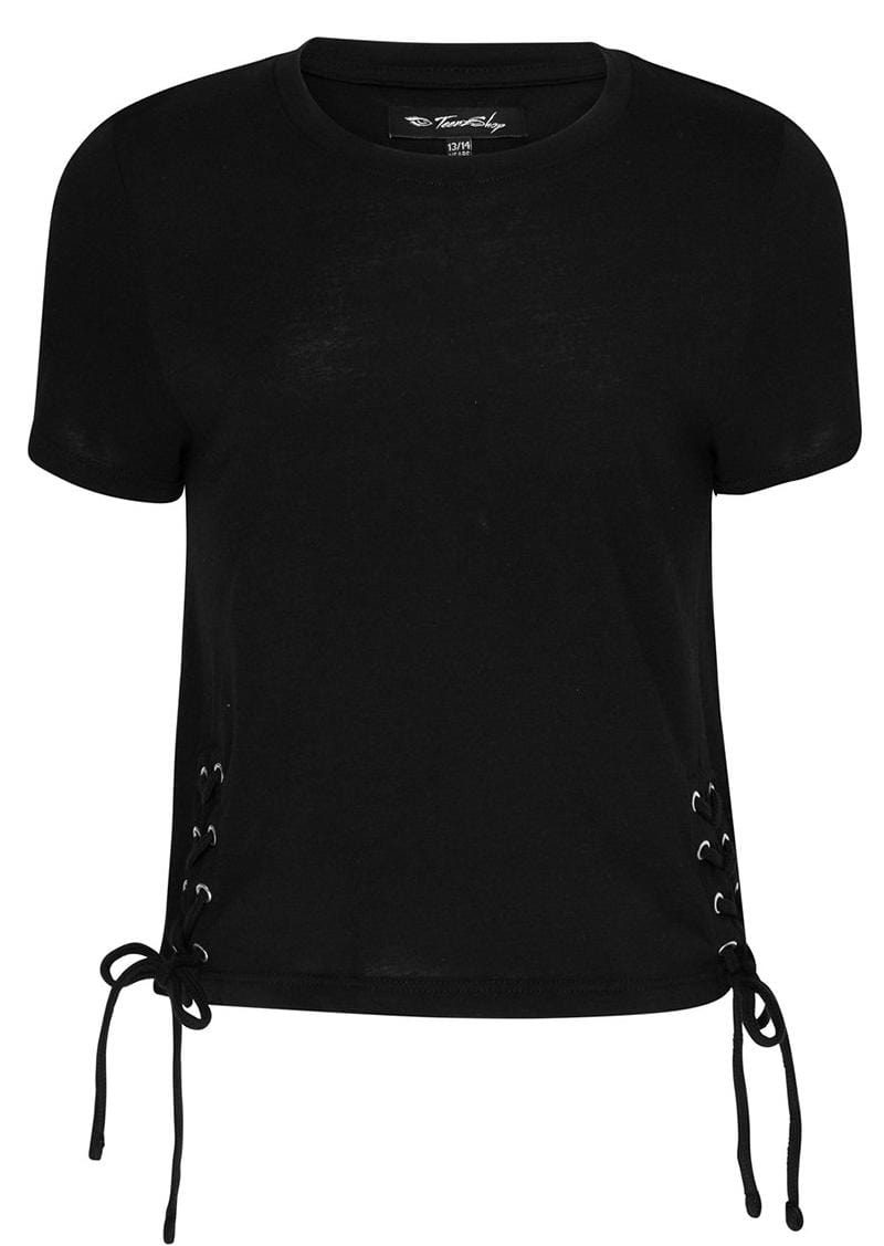 Youth Girls Black Lace-Up Fitted T-Shirt