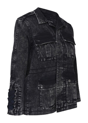 TeenzShop Youth Girls Black Denim Winter Coat