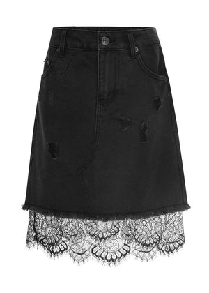 TeenzShop Youth Girls Denim and Lace Mini-Skirt