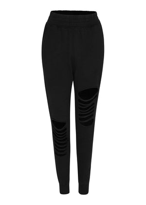 TeenzShop Youth Girls Black Basic Ripped Joggers