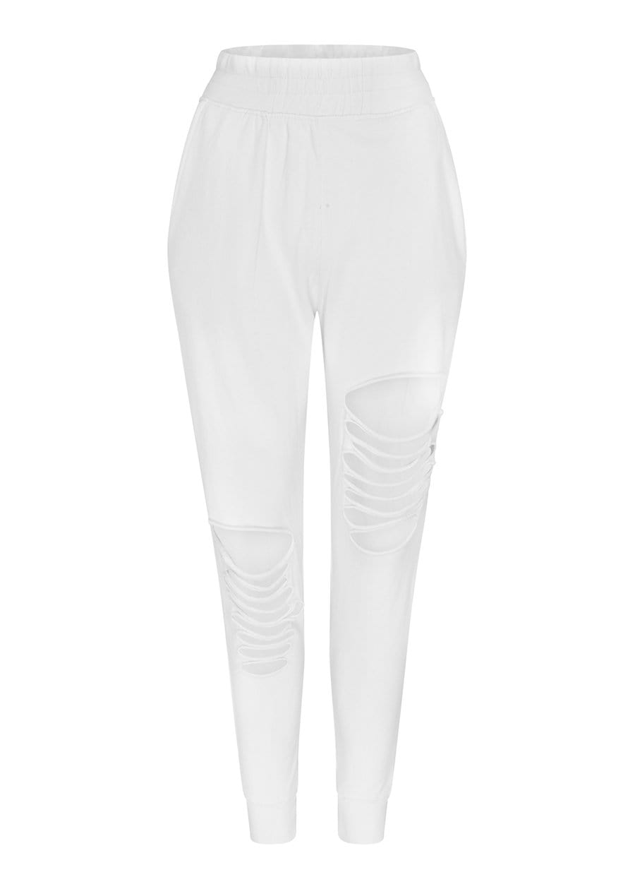 TeenzShop Youth Girls White Basic Ripped Joggers