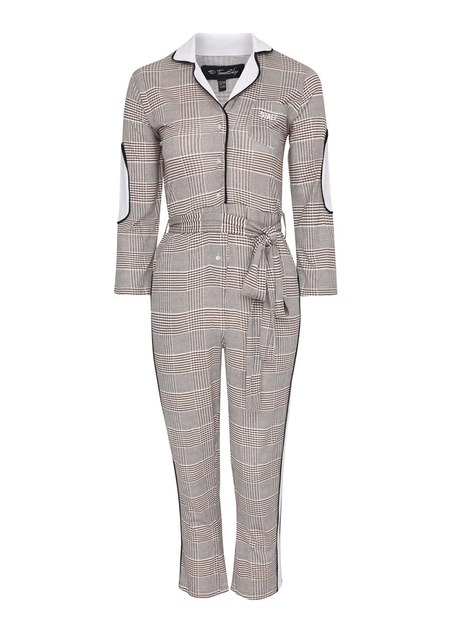 Youth Girls Beige WORKWOMAN Boilersuit With Contrast Stripe