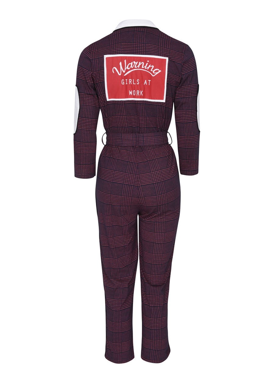 Youth Girls Burgundy Checker Boilersuit With Contrast Stripe Back