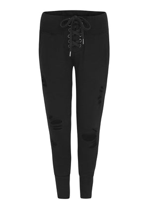 Teenzshop Youth Girls Lace-Up Front, Ripped Joggers