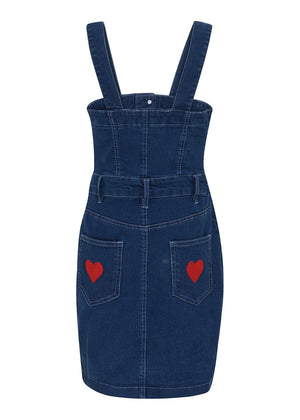 TeenzShop Youth Girls Denim Dress With Heart Embroidery