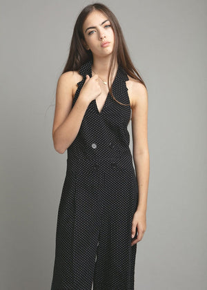 Polka Halter Neck Jumpsuit - Black - Detail