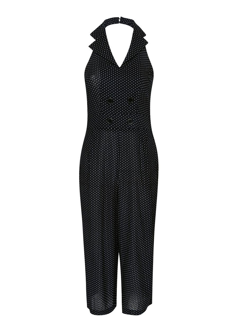 Youth Girls Black Polka Halter Neck Jumpsuit
