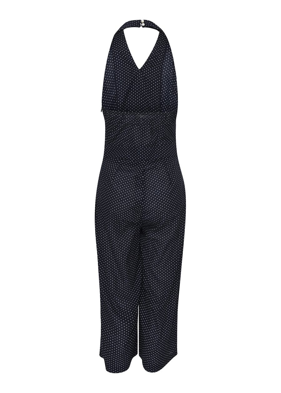 Youth Girls Black Polka Halter Neck Jumpsuit-SUSTAINABLE FABRIC