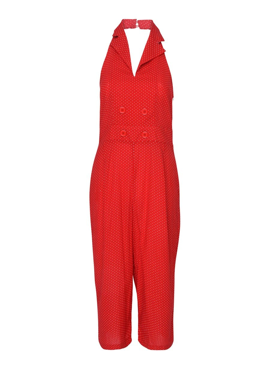 Youth Girls Red Polka Halter Neck Jumpsuit