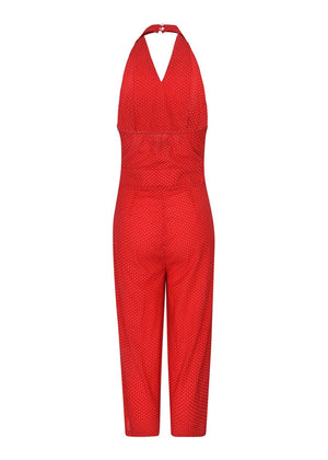 TeenzShop Youth Girls Red Polka Halter-Neck Jumpsuit-SUSTAINABLE FABRIC