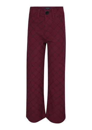TeenzShop Youth Girls Burgundy Wide Leg Jeans With Quilted Stitching